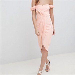 ASOS Off Shoulder Blush Pink Tulip Hem Dress 12